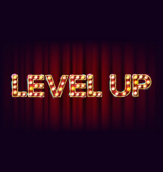 Level up banner casino shining light sign vector