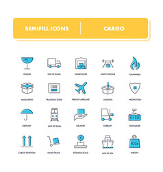 Line icons set cargo vector