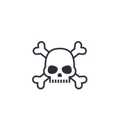 Malware computer virus icon with skull and bones vector