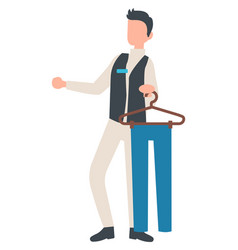 Man consultant holding trousers pants on hanger vector