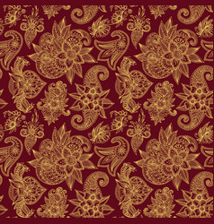 mehendy golden flower seamless pattern design vector image