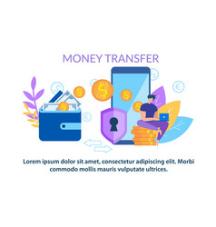 money transfer wallet to mobile phone application vector image