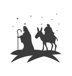 Nativity joseph with mary in donkey travel vector