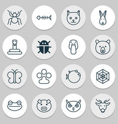 nature icons set with fish bone deer owl and vector image
