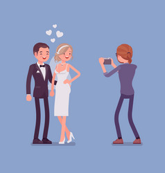 newlywed and photographer vector image