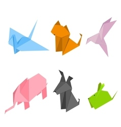Origami Animals Set Isometric View vector