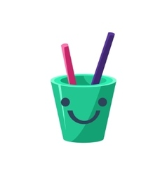 Pencil Holder Cup Primitive Icon With Smiley Face vector