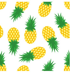 Pineapples and slices of pineapples on white vector