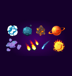 Planets and asteroids cartoon set vector