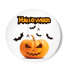 pumpkin smiling halloween white sticker vector image