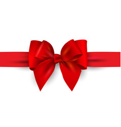red gift bow with ribbon isolated on white vector image