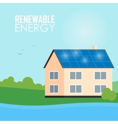 Renewable energy banner Solar panels on house vector image