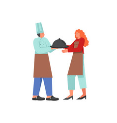 restaurant cook and waitress flat style vector image
