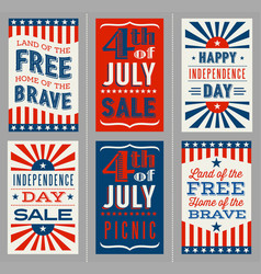 retro 4th july banners for social media vector image