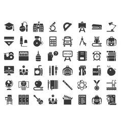 School and education related icon set glyph vector