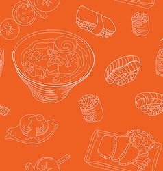 seamless pattern with japan food vector image