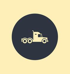 Semi big truck icon on round background vector