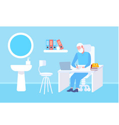 senior doctor sitting at table workplace using vector image