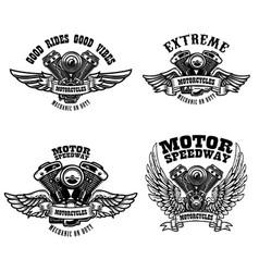 Set biker emblem templates with winged vector