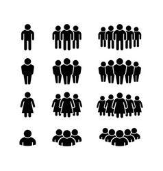 set glyph icons people group vector image