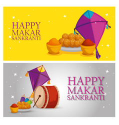 set makar sankranti celebration with food and drum vector image