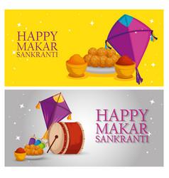 Set makar sankranti celebration with food and drum vector