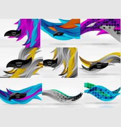 set of 3d wave line abstract backgrounds vector image