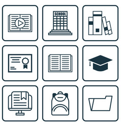 Set of 9 education icons includes academy taped vector