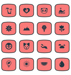 set of simple natural icons vector image