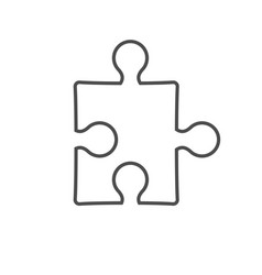 Simple puzzle contour icon isolated on white vector