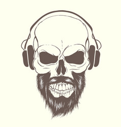 skull with beard and headphones vector image