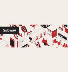 Subway isometric seamless pattern vector