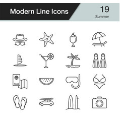 summer icons modern line design vector image