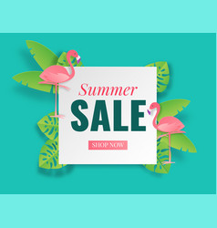 summer sale banner tropical paper cut poster vector image