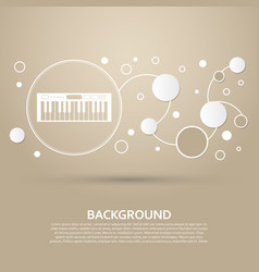 synthesizer icon on a brown background with vector image
