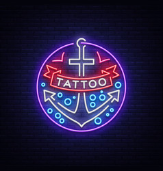 tattoo salon logo in a neon style neon sign vector image