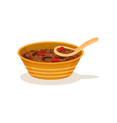 Traditional malaysian soup in bowl with spoon vector