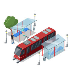 Tramway stop isometric 3d icon vector