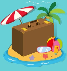 Travel objects on the island vector image