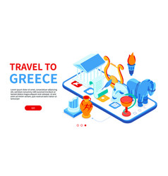 Travel to greece - colorful isometric web banner vector