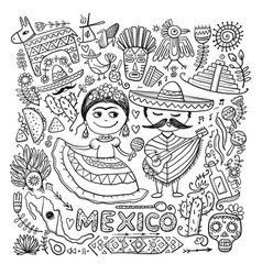 travel to mexico sketch for your design vector image