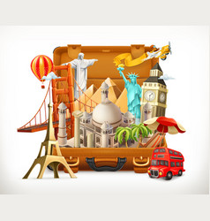 Travel tourist attraction in suitcase 3d vector