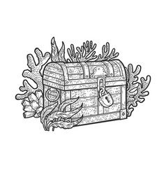 Treasure chest on bottom ocean sketch vector