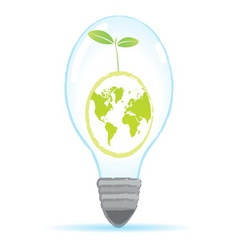 Tree world bulb lamp vector