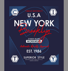 typography new york brooklyn for t shirt print vector image