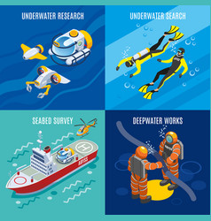 Undersea depths research isometric concept vector