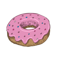 vintage donut drawing hand drawn color vector image