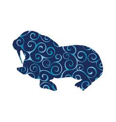 Walrus arctic color silhouette animal vector