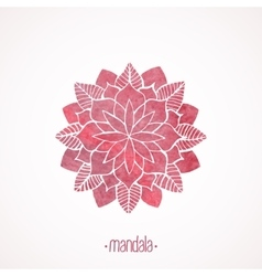 Watercolor pink flower mandala vector