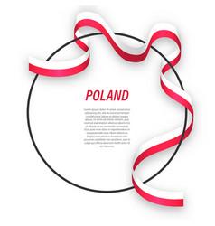 Waving ribbon flag poland on circle frame vector